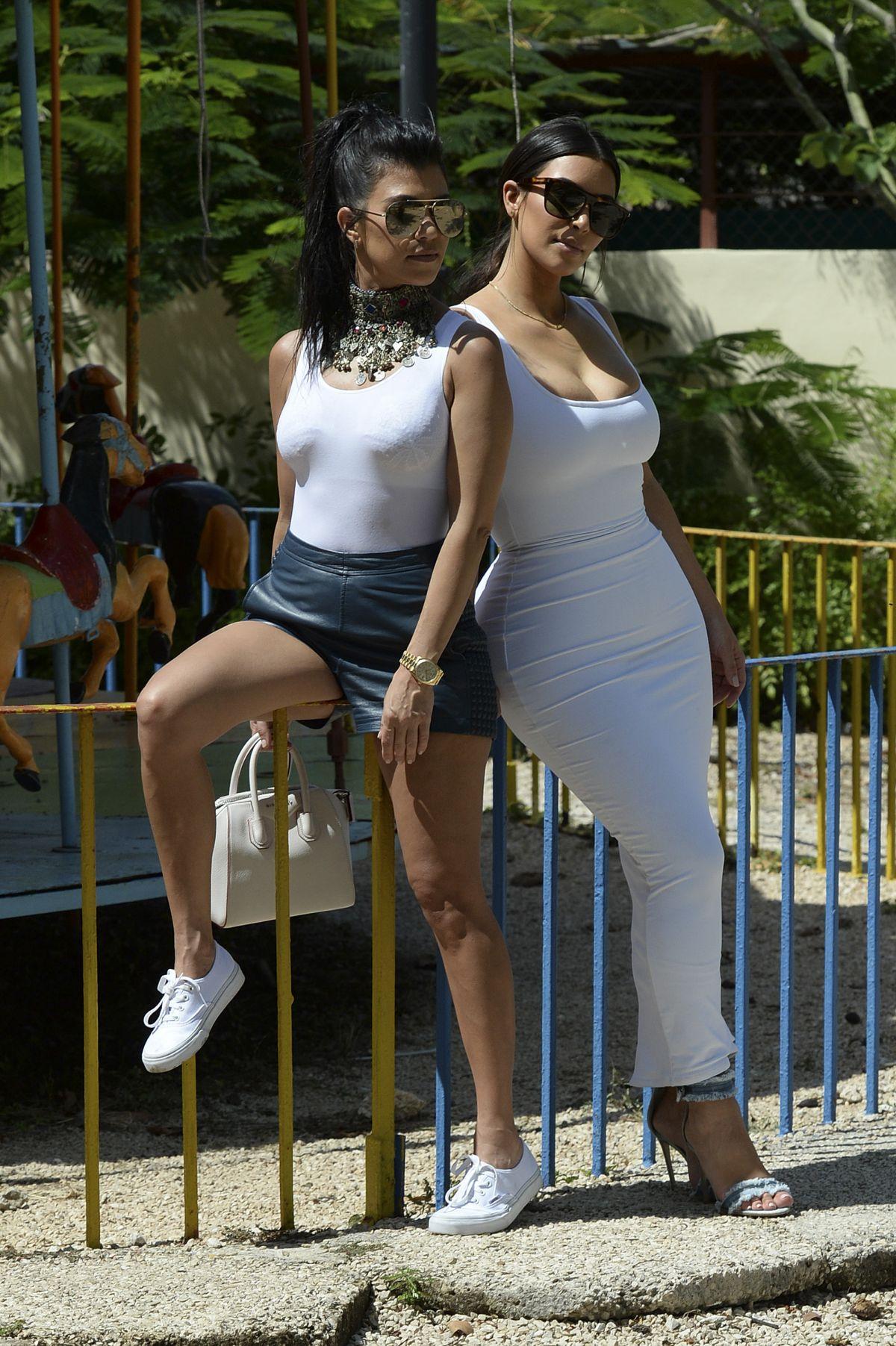 KIM and KOURTNEY KARDASHIAN at a Park in Havana 05/05/2016