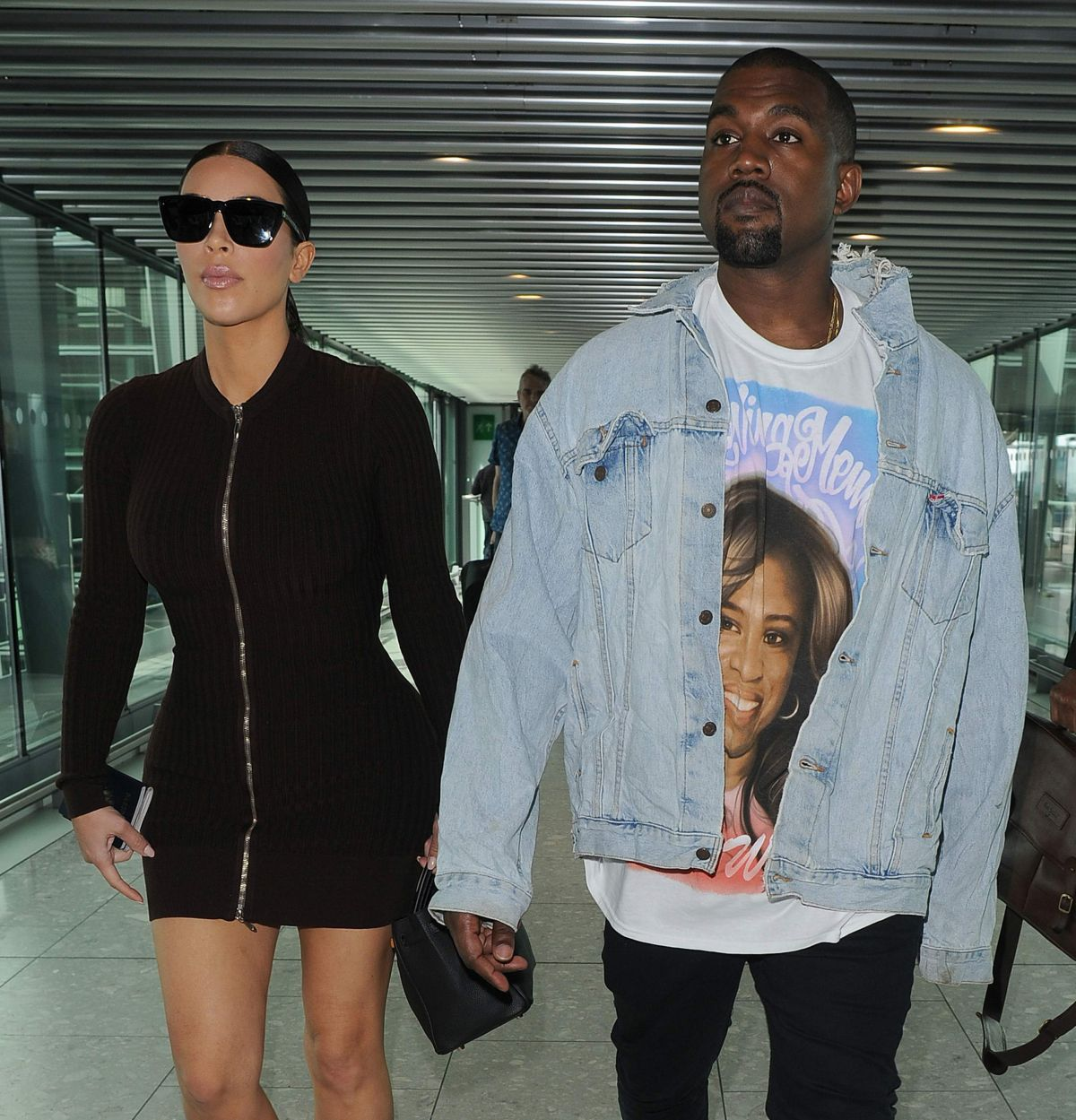 KIM KARDASHIAN and Kanye West at Heathrow Airport in London 05/22/2016