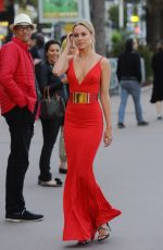 KIMBERLEY GARNER in Red Dress at Plage Royale in Cannes 05/18/2016