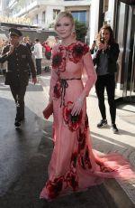 KIRSETN DUNST Leaves Hotel Martinez in Cannes 05/11/2016