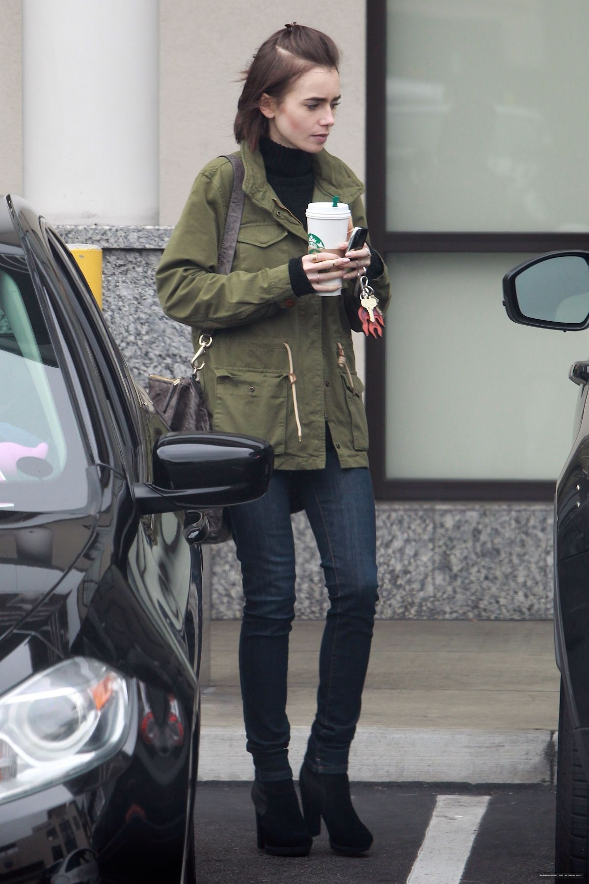 LILY COLLINS Leaves Starbucks in Los Angeles 05/10/2016