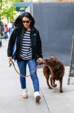LUCY LIU Walks Her Dog Out in New York 04/30/2016