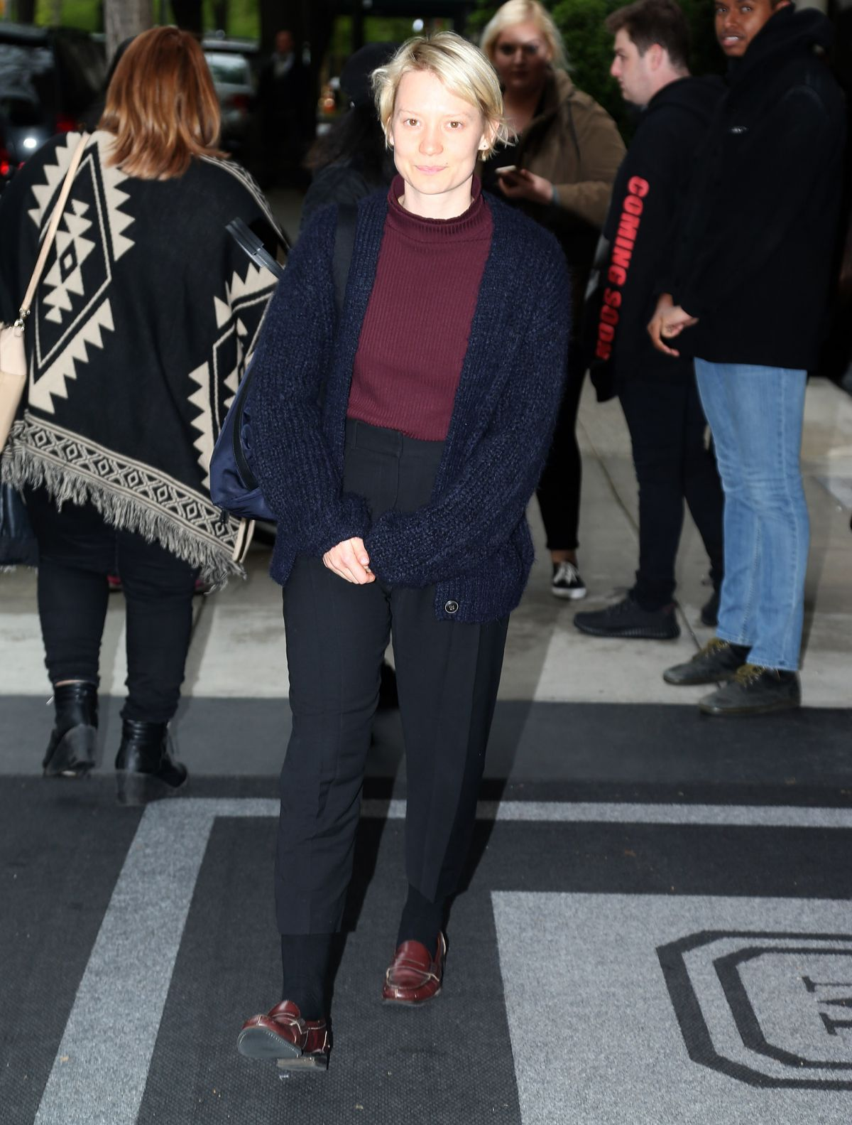MIA WASIKOWSKA Leaves Her Hotel in New York 05/01/2016