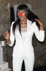 NAOMI CAMPBELL Lights Empire State Building in Honor of Red Nose Day in New York 05/24/2016