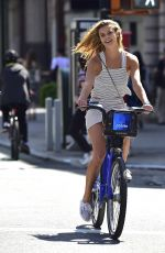 NINA AGDAL Riding a Bicycle in New York 05/12/2016
