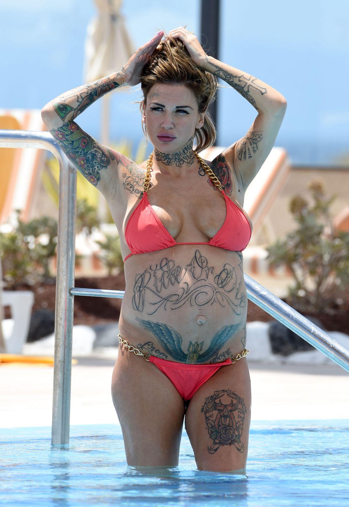 Pregnant SALLIE AXL in Bikini at a Pool in Tenerife 05/11/2016