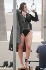 ASHLEY GRAHAM in Swimsuit on the Set of a Photoshoot on Venice Beach 06/08/2016