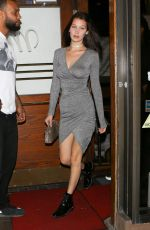 BELLA HADID in Tight Dress Leaves Madeo Restaurant in West Hollywood
