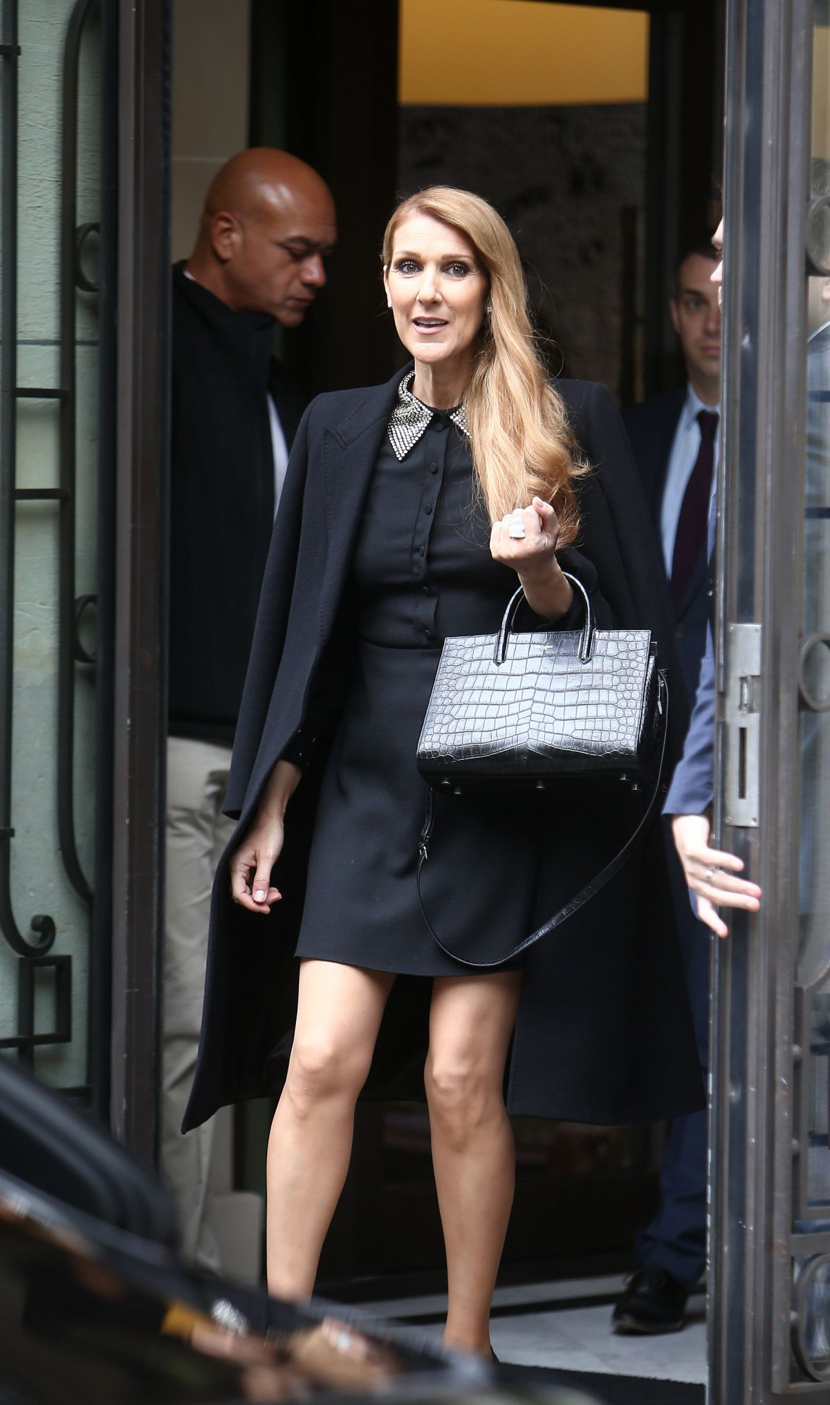 CELINE DION Leaves Royal Monceau Hotel in Paris 06/15/2016