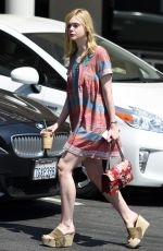 ELLE FANNINF at Starbucks in West Hollywood 06/27/2016