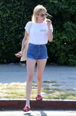 EMMA ROBERTS in Denim Shorts Out in West Hollywood 06/29/2016