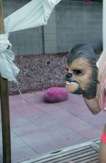FRENCHY MORGAN Posing with a Chewbacca Mask in Los Angeles 06/07/2016