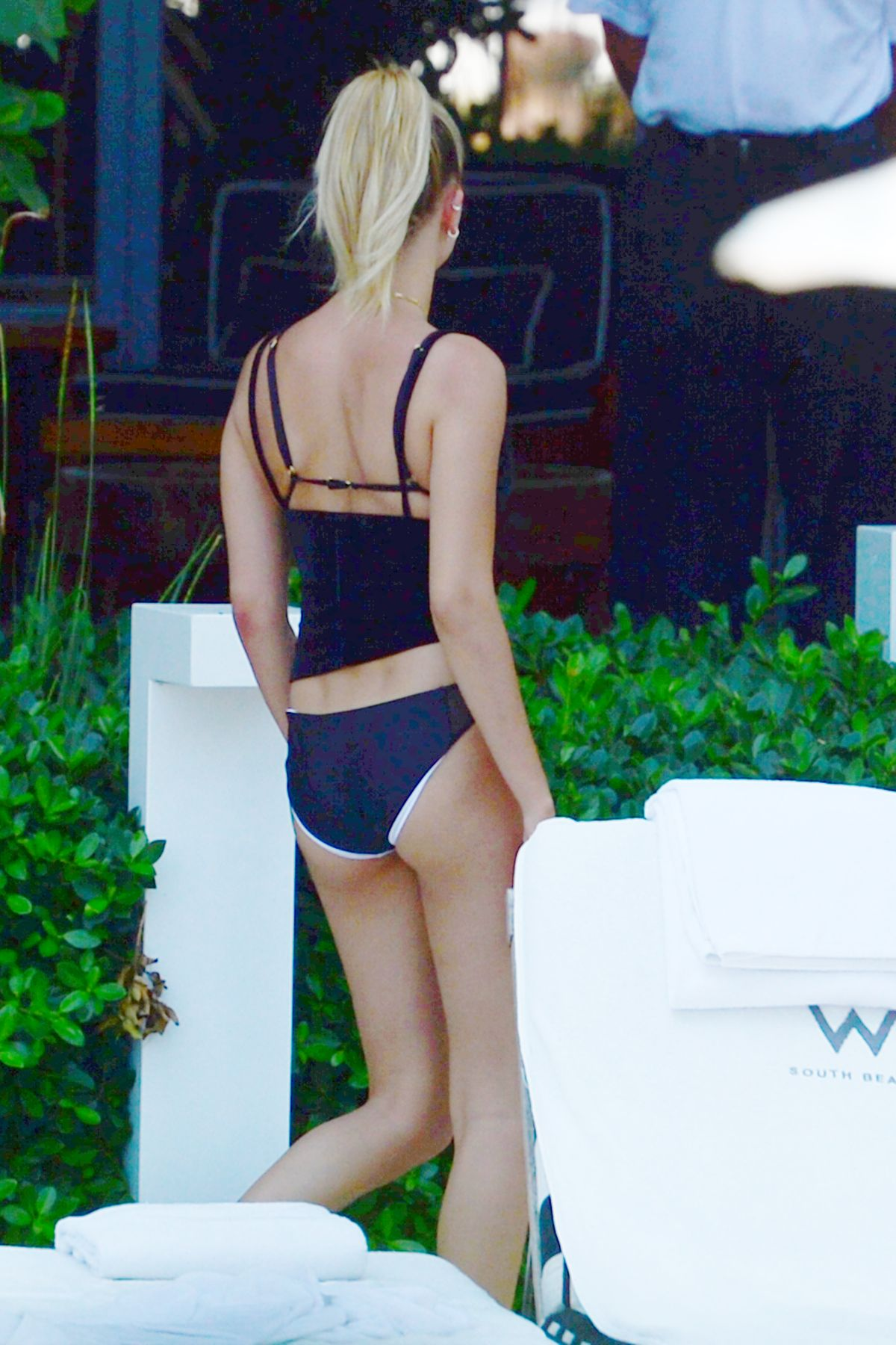 HAILEY BALDWIN in Bikini Bottoms at a Hotel Pool in Miami 06/13/2016