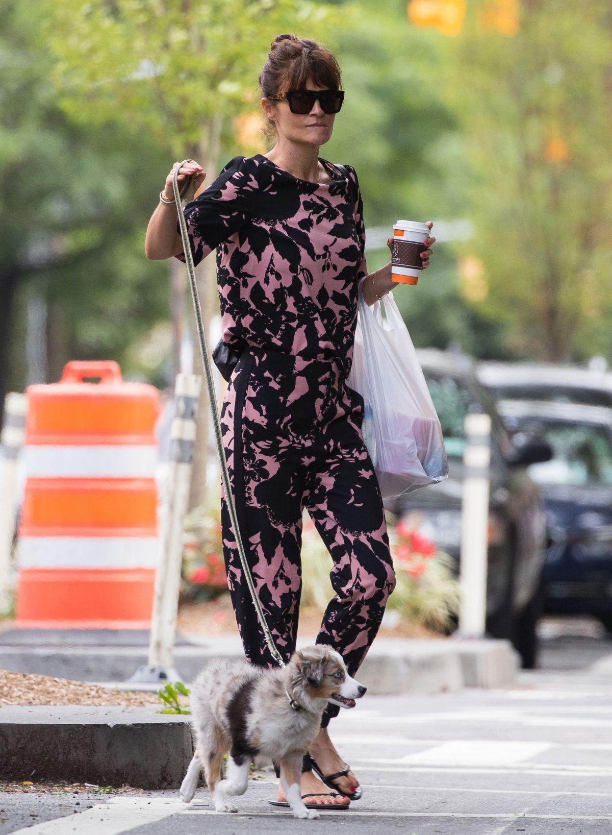 HELENA CHRISTENSEN Walks Her Dog Out in New York 06/13/2016