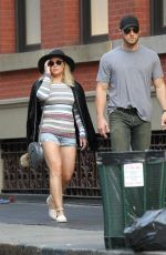 HILARY DUFF in Denim Shorts Out in New York 06/19/2016