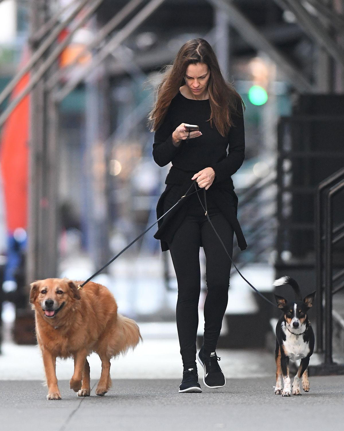 HILARY SWANK Walks Her Dogs Out in New York 06/18/2016