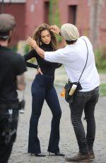 JESSICA ALBA on the Set of Denim Commercial in New York 06/26/2016