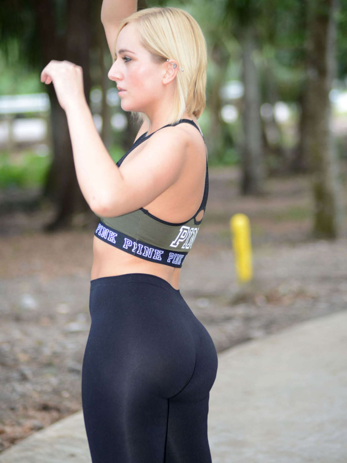 KATE ENGLAND in Tights Wworkout at a Park in Orlando 06/22