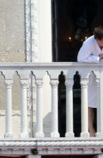 KATE MOSS on Her Hotel Balcony in Venice 06/26/2016