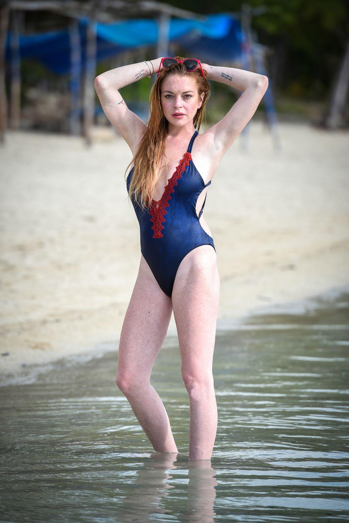 LINDSAY LOHAN in Swimsuit in Mauritius, June 2016