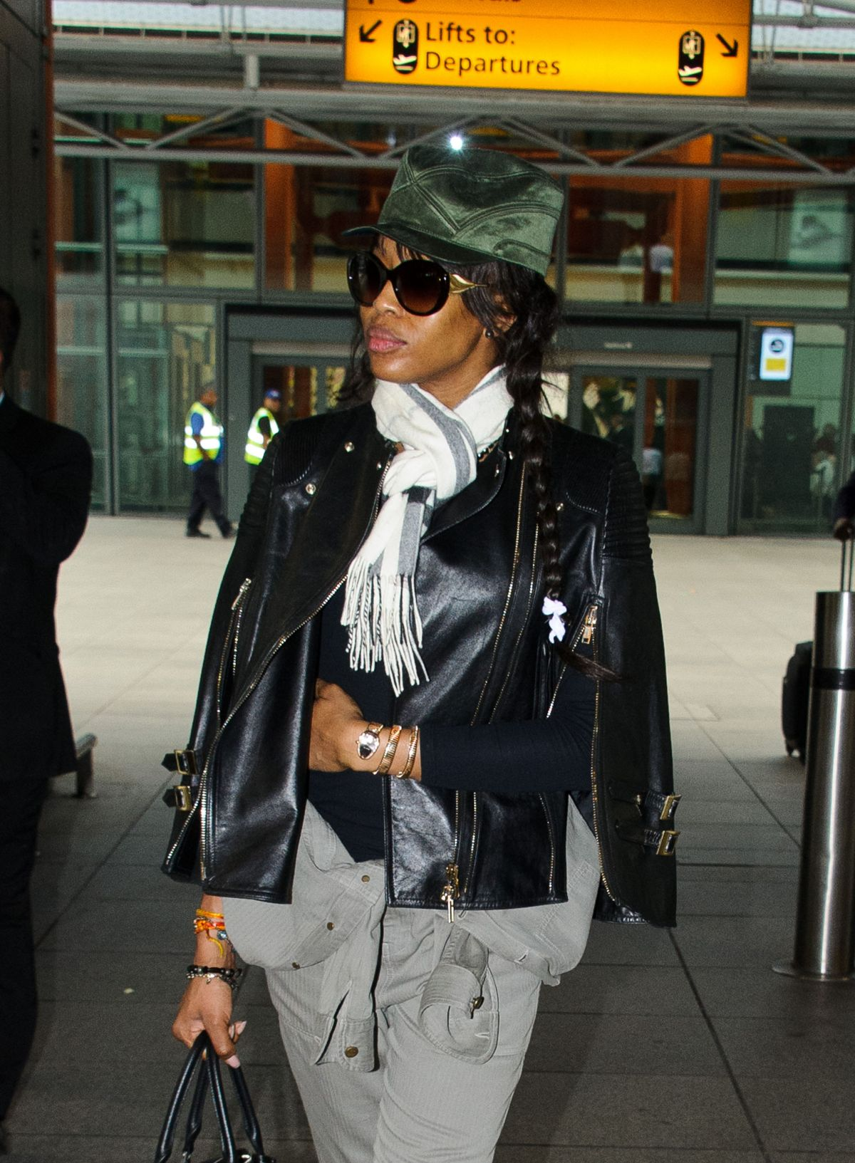 NAOMI CAMPBELL at Heathrow Airport in London 06/12/2016