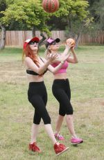 PHOEBE PRICE and ANA BRAGA Working Out in a Park in Beverly Hills 06/10/2016