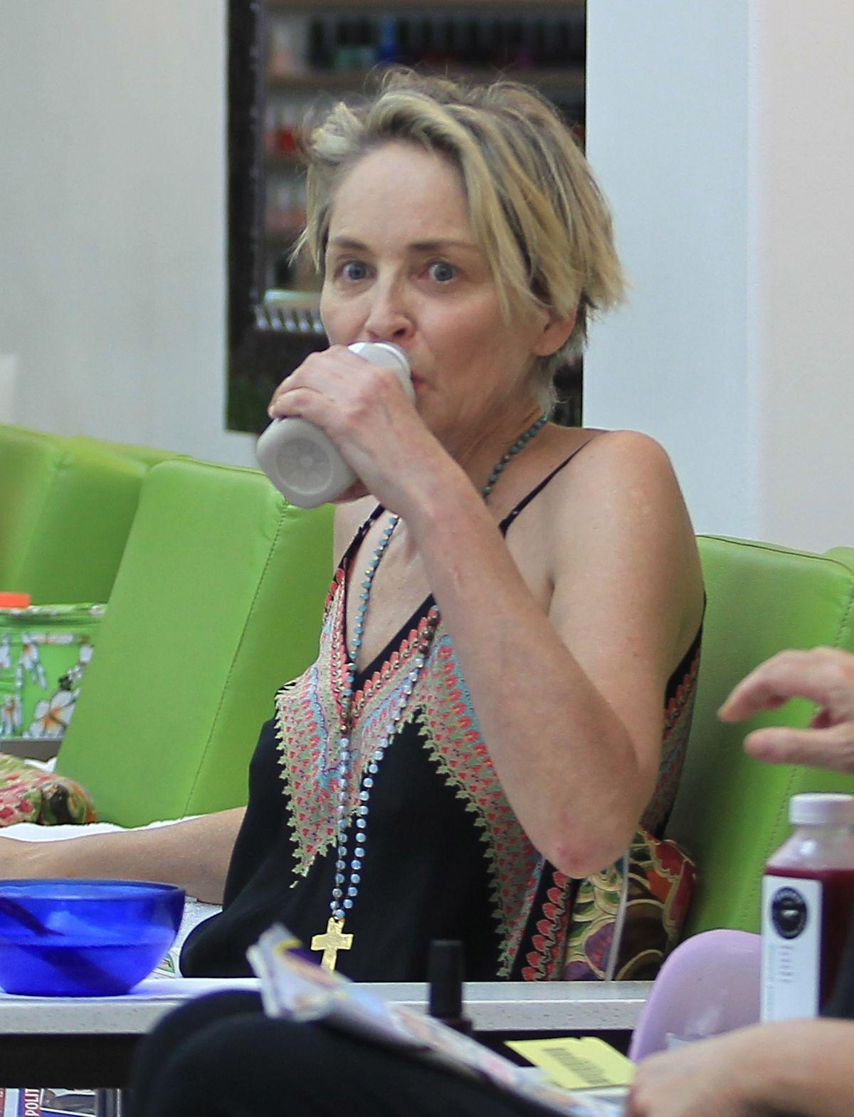 SHARON STOEN at a Nail Salon in Beverly Hills 06/28/2016
