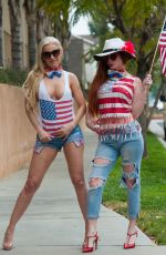 ANA BRAGA and PHOEBE PRICE Heading to a 4th of July Party in Los Angeles