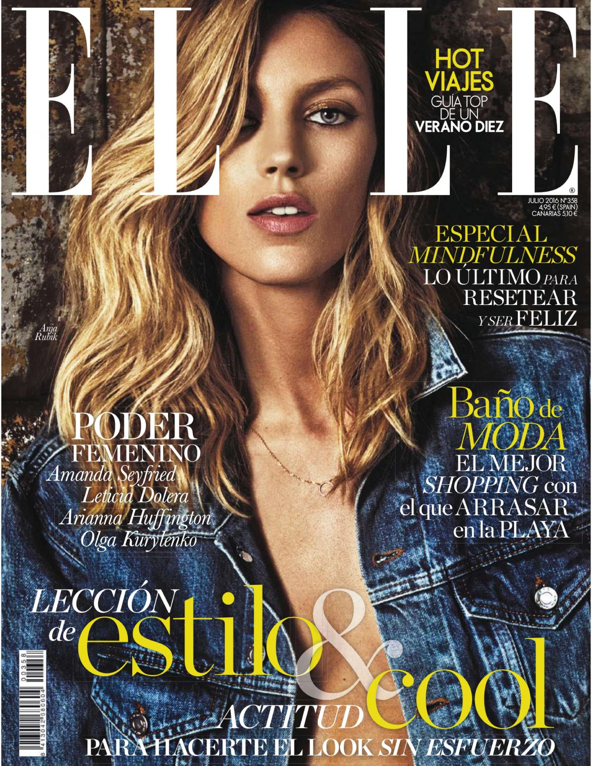 ANJA RUBIK in Elle Magazine, Span July 2016