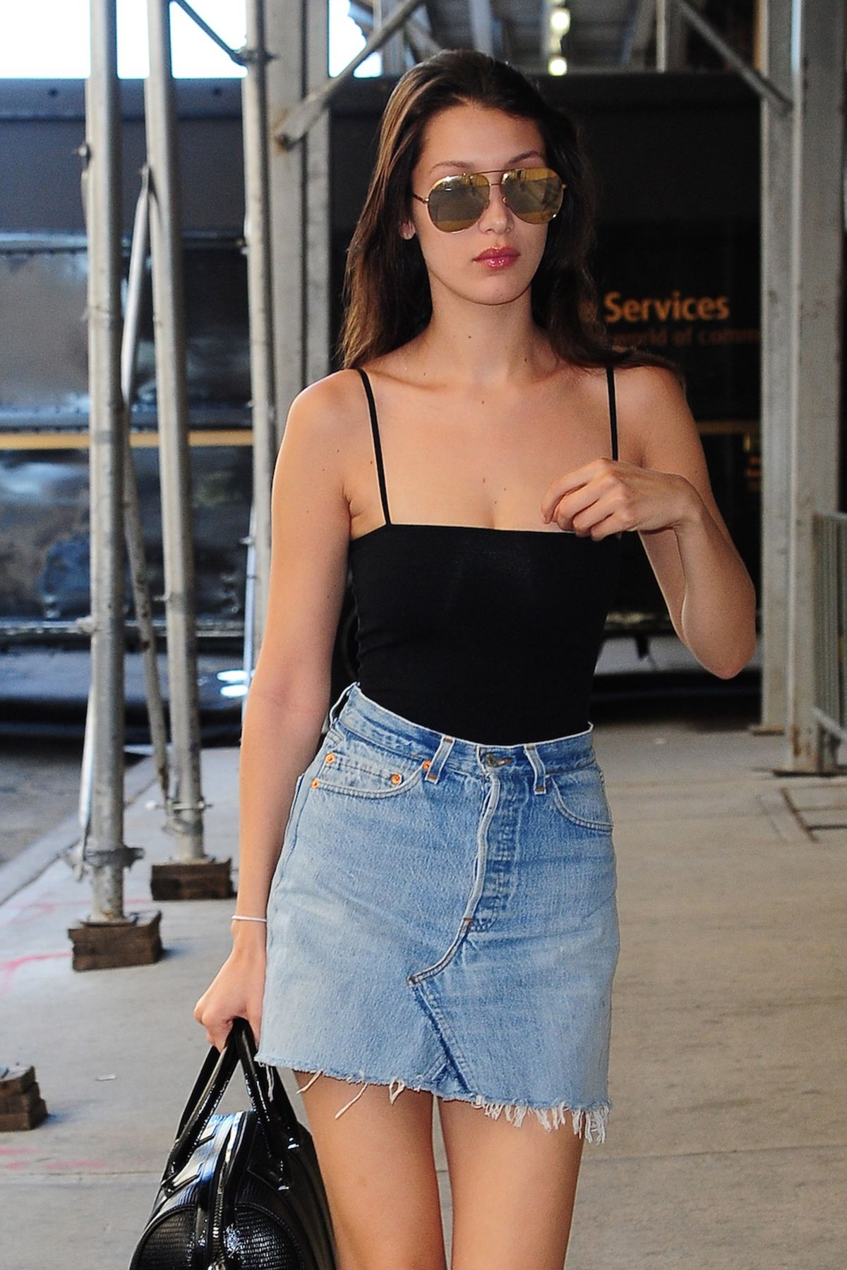 hadid in denim skirt and tank top out in new york 06