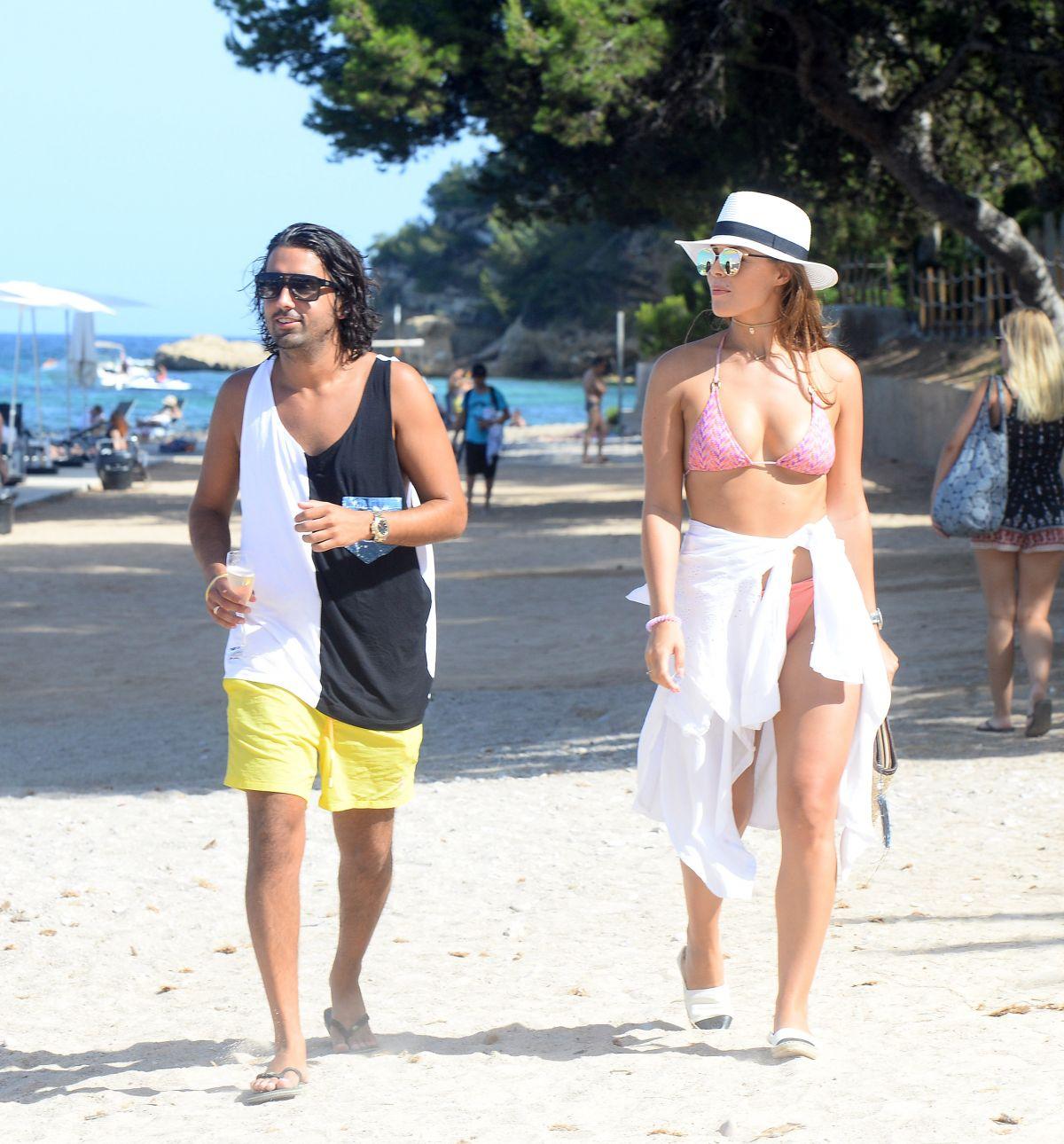 CHLOE LEWIS in Bikini Top on the Beach in Magaluf 07/03/2016