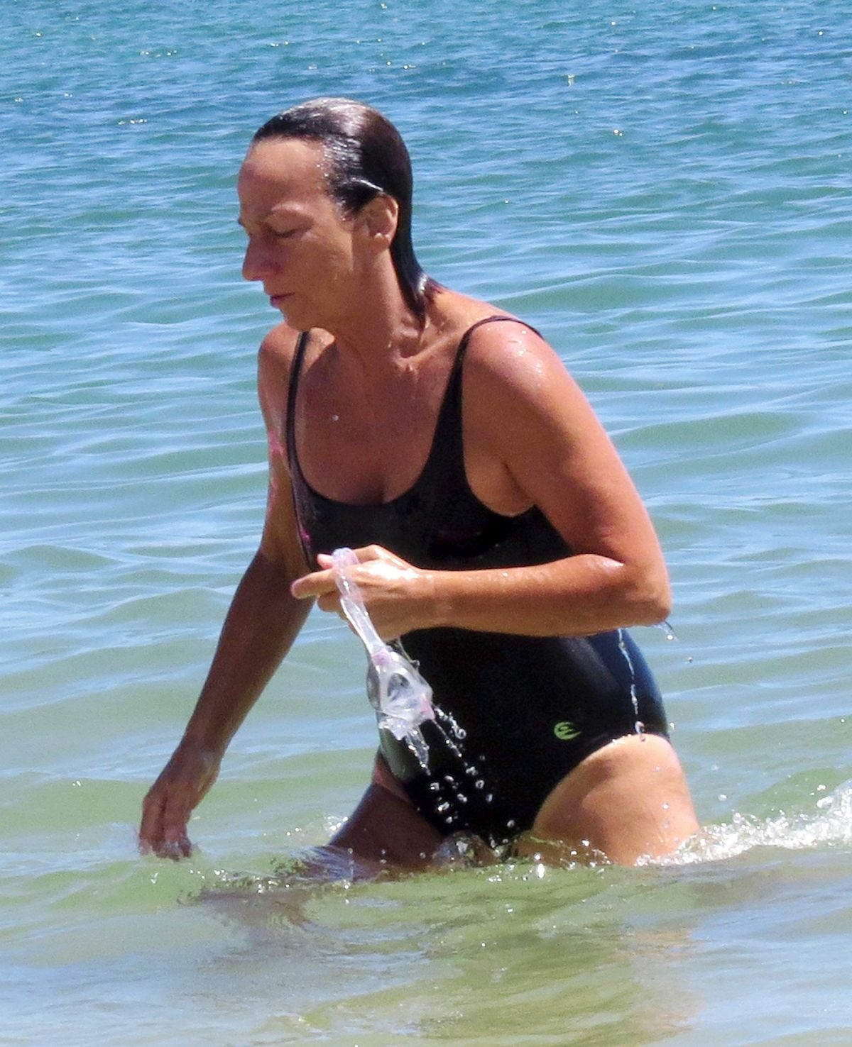 GIANNA NANNINI in Swimsuit at a Beach in Ibiza 07/17/2016