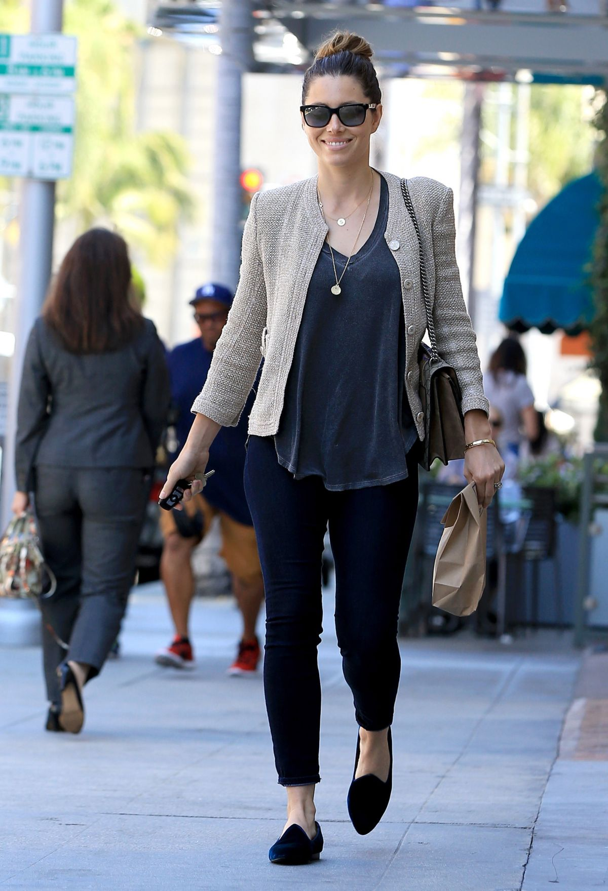 JESSICA BIEL Out and About in Beverly Hills 07/06/2016