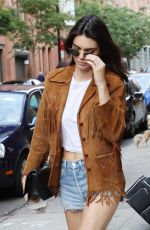 KENDALL JENNER in Denim Shorts Out in New York 07/10/2016