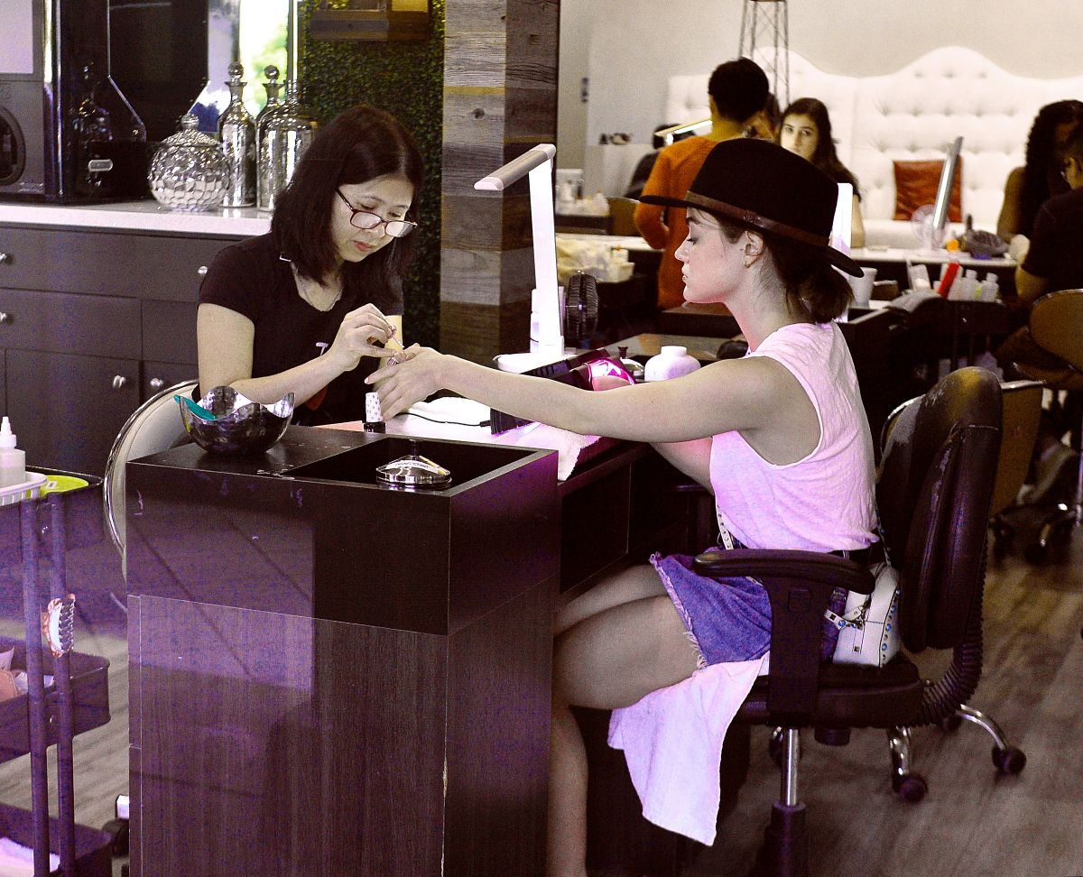 LUCY HALE at a Nail Salon in Los Angeles 07/05/2016 - HawtCelebs