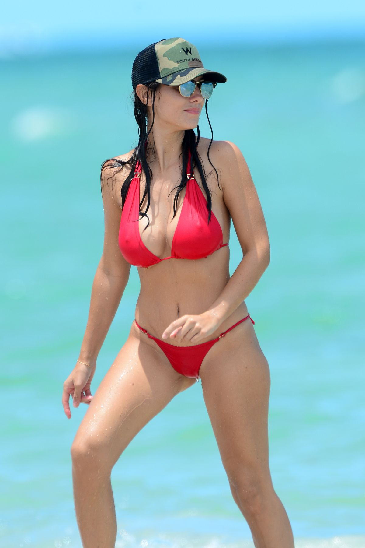 LUDIVINE SAGNA in Bikininat a Beach in Miami 07/14/2016