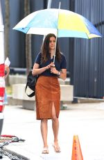 NINA DOBREV on the Set of Flatliners in Toronto 07/09/2016