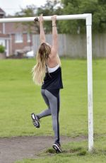 CHARLOTTE CROSBY Workout in Hear To Her Home in Newcastle 08/17/2016
