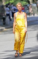 CLAIRE DANES in Yellow Jumpsuit Out in New York 08/17/2016