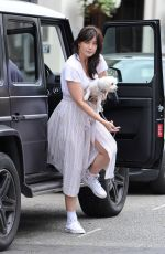 DAISY LOWE Out with Her Dog in Primrose Hill 07/29/2016