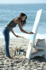 EMILY RATAJKOWSKI on the Set of American Eagle Denim Photoshoot on the Beach in Malibu 08/16/2016