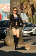 ERIKA JORDAN Out with Her Dog on Sunset Boulevard in Los Angeles 08/14/2016