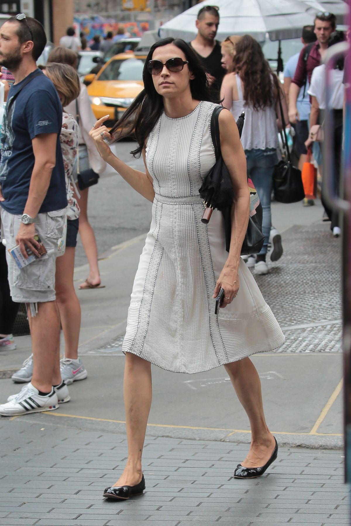 FAMKE JANSSEN Out and About in New York 08/05/2016