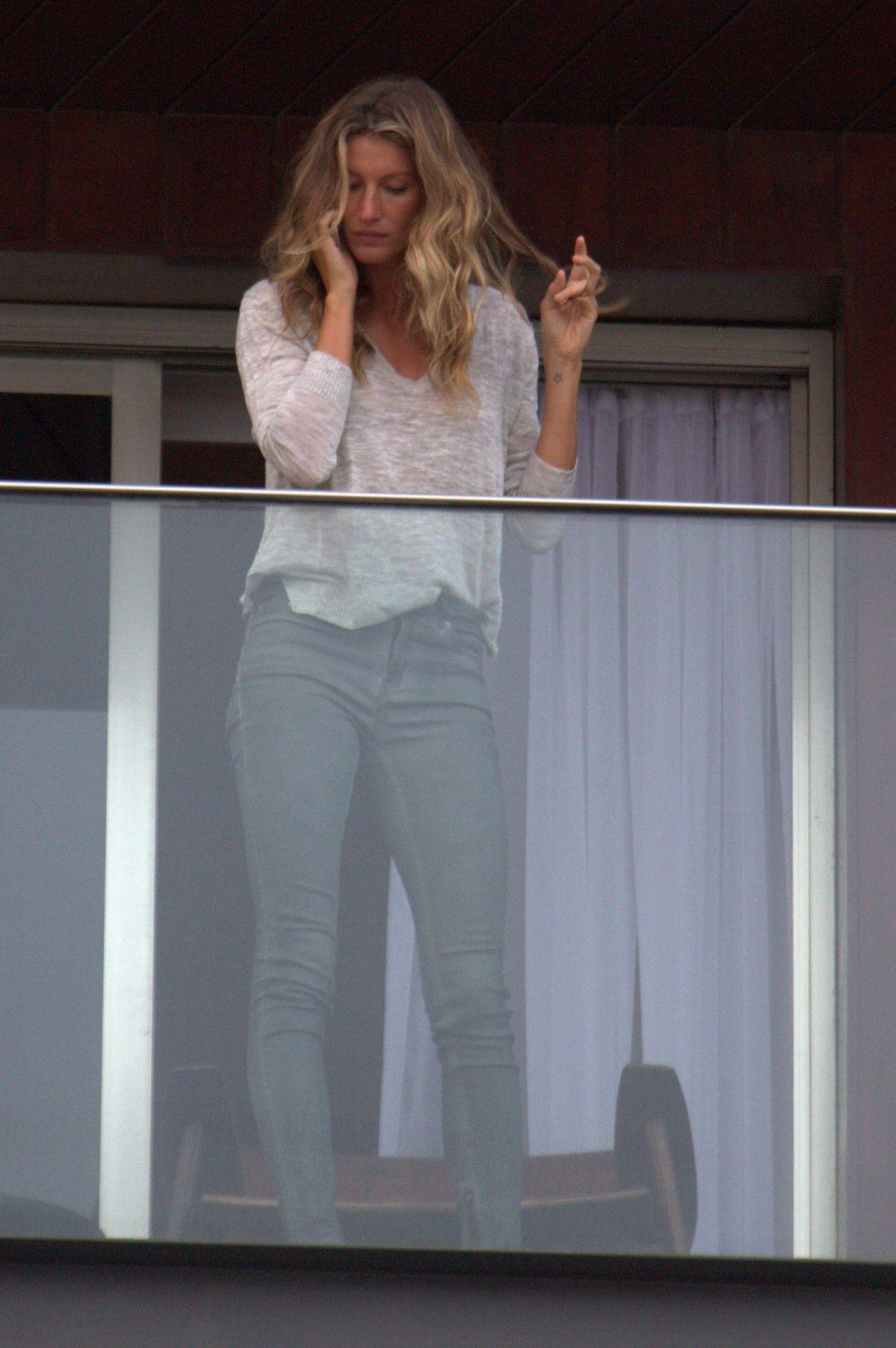GISELE BUNDCHEN on the Balcony of Her Hotel in Rio De Janeiro 08/03/2016