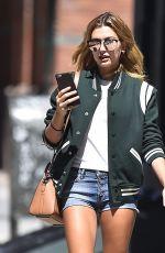 HAILEY BALDWIN in Denim Shorts Oit in New York 08/22/2016