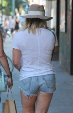 HILARY DUFF in Denim Shorts Out in New York 08/28/2016