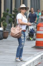 HILARY DUFF in Ripped Jeans Out in New York 08/20/2016