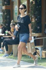 JORDANA BREWSTER in Denim Skirt Leaves Kreation in Brentwood 08/25/2016
