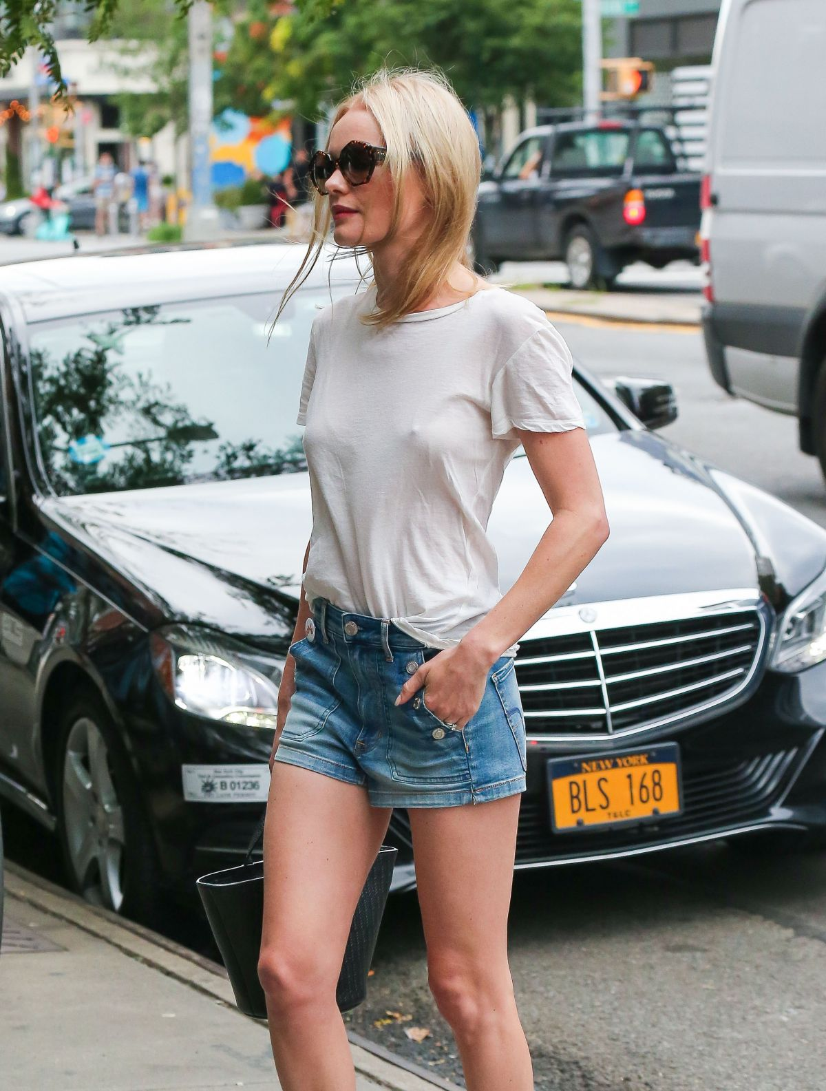 KATE BOSWORTH in Denim SHorts Out in New York 08/02/2016