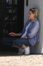 KRISTEN STEWART Smoking Outside Scott Free Production Company in West Hollywood 08/17/2016
